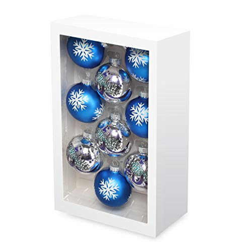 Costyleen Christmas Decoration Colorful Glass Balls Ornaments Set Festival Home Party Decors Xmas Tree Hanging Pendant Snowflake Leaf Patterns 9pc Blue Silver 2.7in