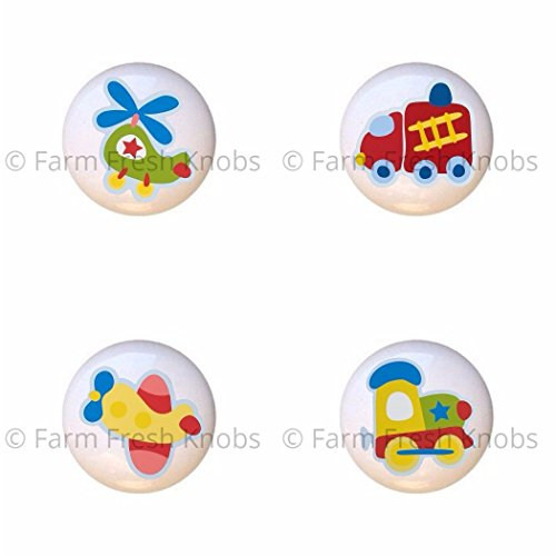 SET OF 4 KNOBS - Chopper Helicopter Firetruck Fire Engine Plane Airplane Train Locomotive - Kids Transportation - DECORATIVE Glossy CERAMIC Cupboard Cabinet PULLS Dresser Drawer KNOBS