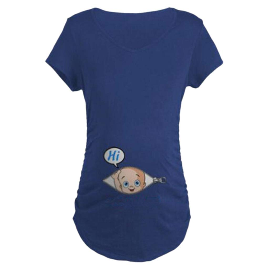 FimKaul 2019 Sale! Maternity Hi Baby Peeking T Shirt Funny Pregnancy Tee for Expecting Mothers S)