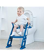 Potty Training Seat with Step Stool Ladder for Kids Toddler Baby Boys and Girls Children Adjustable Toilet Training Seat Chair with Handles Soft Padded Seat Non-Slip Wide Steps (skyblue)