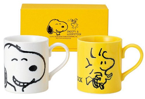 Snoopy face pair mug set Snoopy u0026 Woodstock 629 700 KimuTadashi pottery 629700