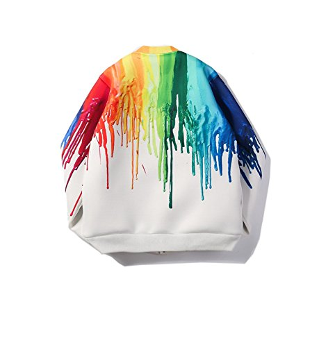 de aviador de arco Invierno las del estampado tinta de iris 3XL Chaqueta Color chapoteo de ZFFde tamaño mujeres del Multicolor IqPEwxntw