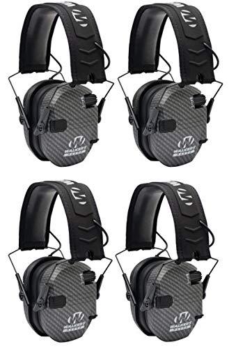 Walkers GWPRSEMCARB Razor Slim Shooter Folding Electronic Earmuff 23 dB Gray - 4 Pack