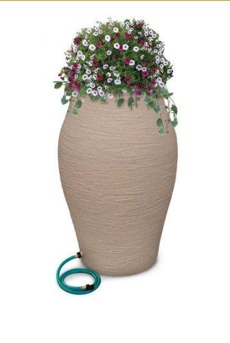 Urn Rain (RESCUE 85 Gal. Sandstone Water Urn Decorative Urn Rain Barrel Kit with Integrated Planter)