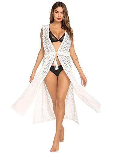 (Beach Coverups for Women - Sexy Crochet Knit Long Split White Lace Kimono Cover Up)