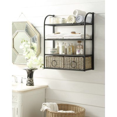 4D Concepts 603115 Windsor Storage Towel/Wine Rack with 2 Baskets, Slate and Weave