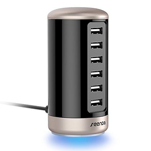 USB Charger, Multi Wall Charger - Seenda 6-Port USB Charging Station with Smart Identification - Black & Gold by seenda