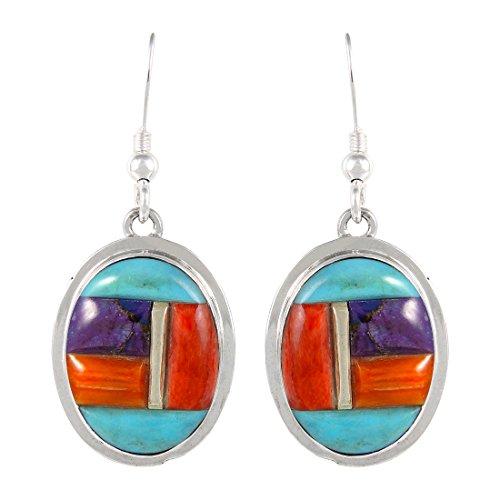 - 925 Sterling Silver Earrings Genuine Turquoise & Gemstones Dangles (Multi-51)