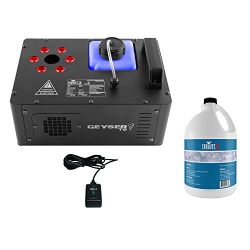 Chauvet DJ Geyser T6 Smoke Fog Machine and RGB LED Light Effect with Fog Fluid by CHAUVET DJ