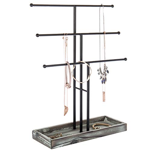 MyGift Black Metal 3-Tier Jewelry Display Stand with Wooden Ring Tray ()