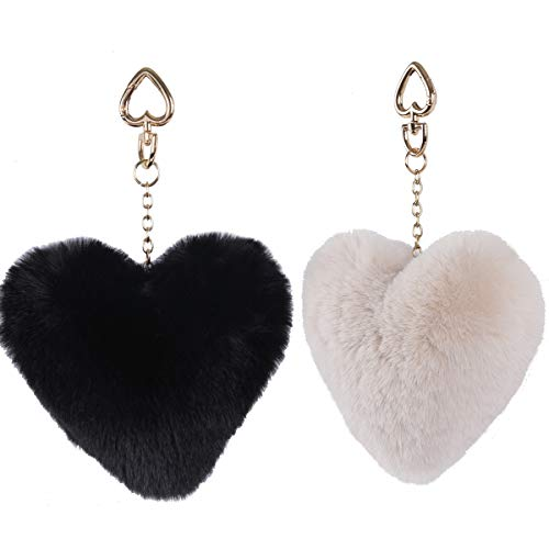 Bag Charms Fur, LILYFUR Gold Heart Keychains Pom Pom Key Chain Colorful Charm Key Ring, Fashion Accessories for Girls Bag Pendant