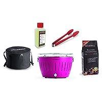 Lotusgrill Lotusgrill Edelstahl Stahl Kunststoff klein rosa Balkon Camping Picknick ✔ rund ✔ tragbar rauchfrei ✔ Grillen mit Holzkohle ✔ für den Tisch