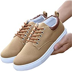 Men's Casual Shoes,Man Spring Autumn Style Flats Fashion Sneakers For Men Solid Canvas Shoes Khaki 11