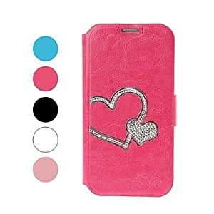 Bkjhkjy Heart Pattern with Rhinestone Leather Case with Holder for Samsung Galaxy S4 i9500 , Rose