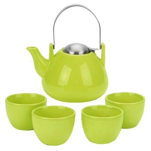 Ariel Lime Teapot & 4 Tea Cups, 6 Piece Set ()