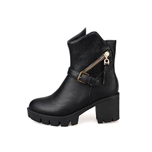 AllhqFashion Womens Solid PU Kitten-Heels Zipper Round Closed Toe Boots Black BBrxqrQ