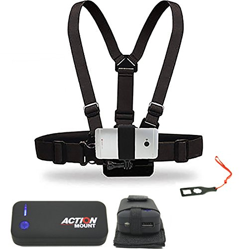 Action Mount Wearable Battery Setup and Chest Harness with Universal Phone Mount | 5200mAh External Power Pack and Holster and USB Cords. Wear Your Phone, and Simultaneously Charge the Battery. by Action Mount
