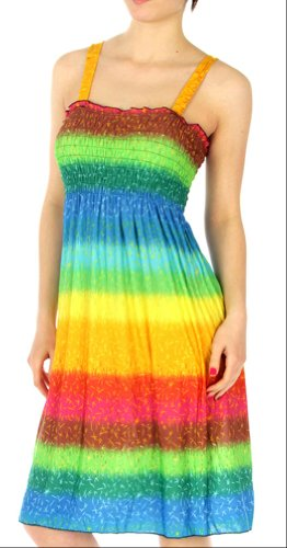 Bright Silky Smooth Smocked Bodice Sun Dress - Assorted Colors (large, Rainbow-Aqua)