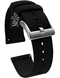 22mm Black - Barton Canvas Quick Release Watch Band Straps - Choose Color & Width - 18mm, 19mm, 20mm, 21mm, 22mm, or 23mm