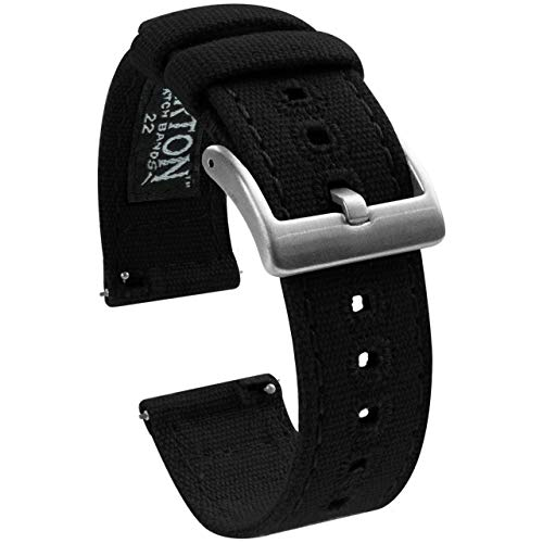 22mm Black - Barton Canvas Quick Release Watch Band Straps - Choose Color & Width - 18mm, 19mm, 20mm, 21mm, 22mm, or 23mm (Pulsar Mesh Watch)