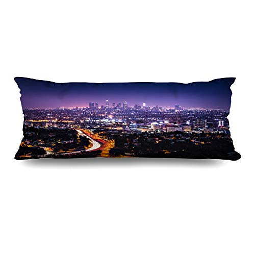 (Ahawoso Body Pillows Cover 20x54 Inches Downtown Purple City View Los Angeles Hollywood Freeway Hills Night Light Cityscape Nightlife Horizon Decorative Zippered Pillow Case Home Decor Pillowcase)