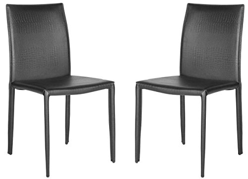 Safavieh Home Collection Karna 19'' Black Croc Bonded Leather Dining Chair -  FOX2009N-SET2