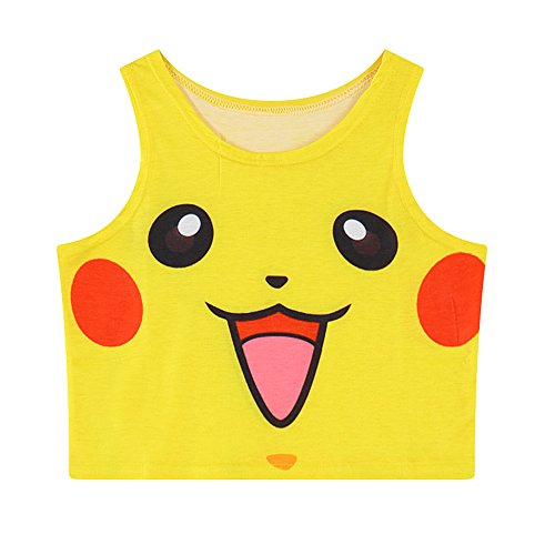 Women Bustier Crop Top Skinny T-Shirt Sports Dance Tops Vest Tank ... Yellow]()