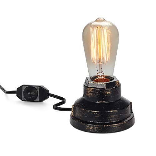 Vintage Table Lamp Industrial Wrought Iron Desk Lamp with Dimmer Switch Steampunk Antique Accent Lamp with E26 Edison Base Retro Lamp Holder Table Light Fixture Loft Decoration for Living Room -