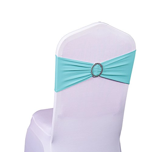 SINSSOWL 100PCS Stretch Wedding Chair Bands with Buckle Lycra Slider Sashes Bow Decorations 25 Colors (Tiffany -