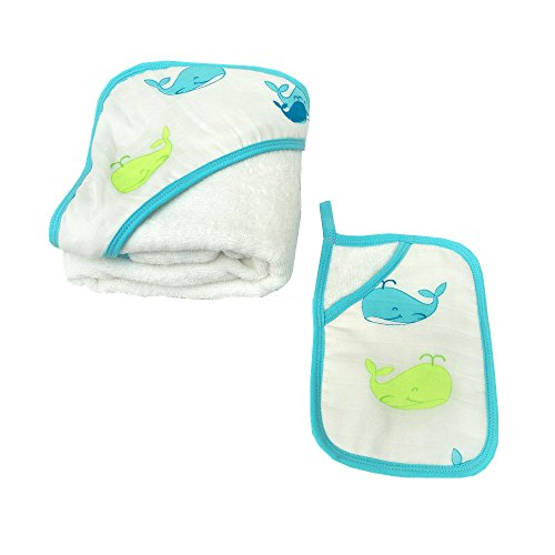 Hooded Baby Towel and Washcloth Set,Baby Bath Towel and Bath Mitt Set,100% Natural Cotton,Large Hooded Towel 31''x 31'' Bath 30' Double Towel