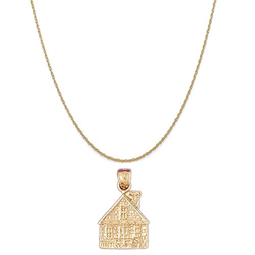 14k Yellow Gold Church Pendant on a 14K Yellow Gold Rope Chain Necklace, - Collection Blessings Nativity