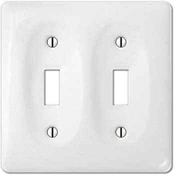 porcelain decorative switch plate wall plate cover rectangular white double toggle 3002tt. Black Bedroom Furniture Sets. Home Design Ideas