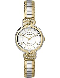 Timex Women's TW2P61200GP Dress White Dial with Two Tone Stainless Steel Expansion Band Watch