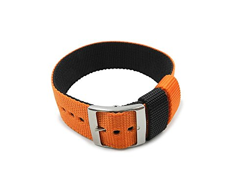 24mm Nato Reversible One Piece Nylon Orange/Black Watch (N93 Replacement)