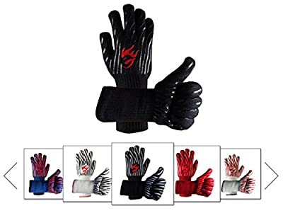 Evridwear 932°F Extreme Heat and Cut Resistant BBQ Gloves Oven Mitts, Non-slip Silicone Coated Pot Holders for Cooking, Baking, Grilling, Fireplace and Microwave
