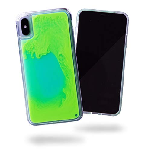 SteepLab Flowing Neon Sand Liquid iPhone Xs Max case - Full Body Protection with Raised Bezel - Mint and Neon Green Glow (4 Neon Case Iphone Green)