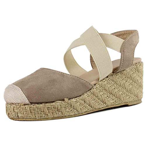 QueenMM Women's Casual Boho Espadrilles Wedge Comfy Elastic Closed Toe Summer Beach Sandals Beige