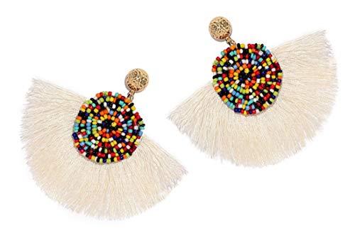 And Earrings Bar Bead - Beads Thread Long Tassel Dangle Drop Earrings Ethnic Geometric Charms Eardrop (White)