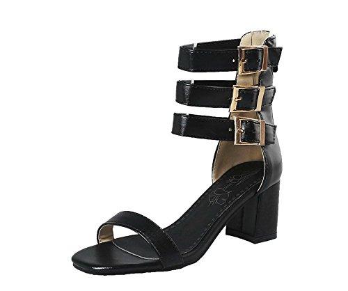 Sandales Noir Couleur Ouverture Femme Zip Correct D'orteil Talon Aalardom Unie À Tsflh007309 Azw4TPx