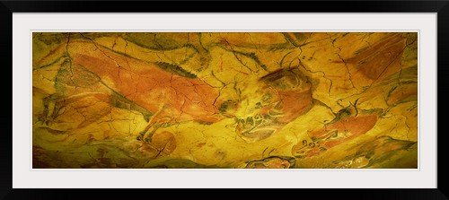 GreatBIGCanvas ''Paleolithic Paintings, Altamira Cave, Santillana Del Mar, Cantabria, Spain'' Photographic Print with black Frame, 48'' x 17'' by greatBIGcanvas