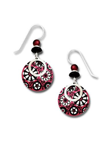 (Adajio Round Red & Cream Retro Floral Disk Silvertone Hook Earrings 7770)