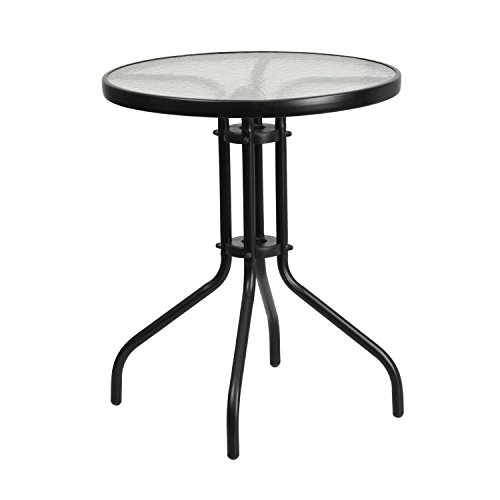 Flash Furniture 23.75'' Round Tempered Glass Metal Table (Round Metal Patio Table)