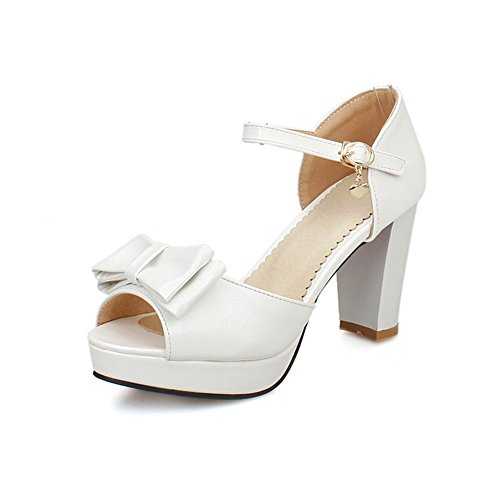 Adee Ladies Bows Solid Polyurethane Sandals White dRLOG