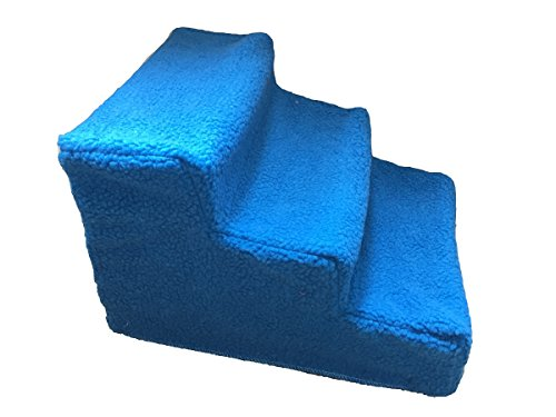 Vedem Pet Stairs Dog Portable 3 Steps Ramp Ladder Stairs With Fleece Cover (Blue) by Vedem