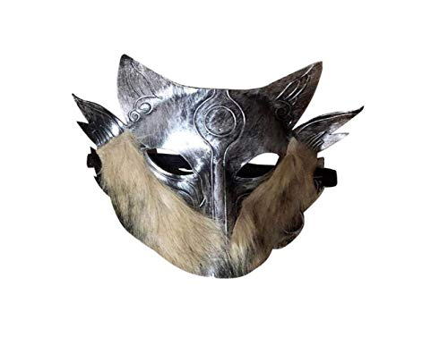 Mas Querade Halloween Mask Simulation Animal Wolf Head Face Cover Props for Halloween Carnival Cosplay Costume Party Supplies (Silver),A,A