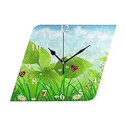 HangWang Wall Clock Ladybug Leaves Silent Non Ticking Decorative Diamond Digital Clocks Indoor Outdoor Kitchen Bedroom Living Room