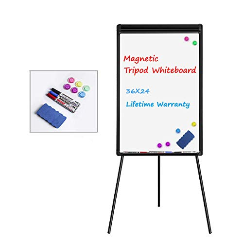 White Board Easel Stand Magnetic Whiteboard Flipchart Tripod Easel Height Adjustable Dry Erase Board with 1 Eraser, 3 Markers, 6 Magnets (24x36 inches) Black