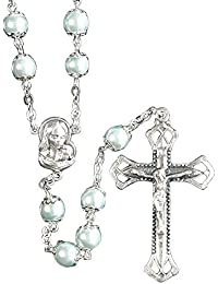 Madonna, Crucifix With Blue Pearl Glass Beads Metal 23-Inch Catholic Pendant Rosary
