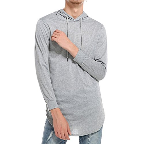 Clearance Sale Mens Tops vermers Men's Hipster Hip Hop Hoodie Side Zipper Tshirt Casual Solid Long Sleeve Sweatshirts(2XL, Gray)