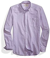 Goodthreads Men's Slim-fit Long-sleeve Solid Oxford Shirt, Purple, Large